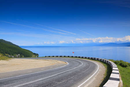 Serpentine road on the south end of lake Baikal Stock Photo