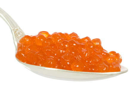 red soft caviar in the silver spoon Stock Photo