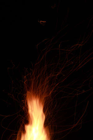 Abstract of spark and flame on black background