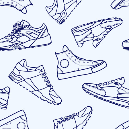 Seamless Pattern with Sneaker Shoe Flat Line Icon Icon Pictogram Symbol Isolated on White. Backwear with running shoes and running shoes. Иллюстрация