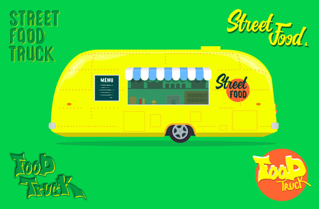 Yellow fastfood foodstuffs logo. Vector mobile kitchen. Isolated on a fresh green background. Ilustrace