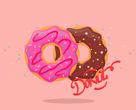 Donut with pink glaze and chocolate. Sweet sugar icing donuts with lettering logo. Top view vector Illustration