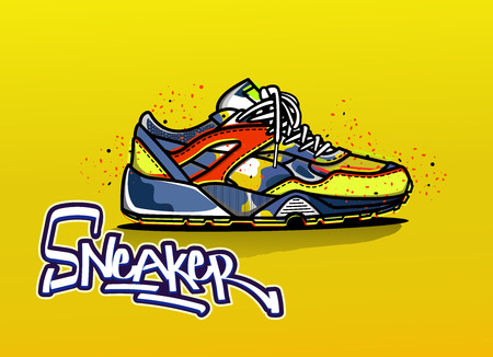 Illustration of sneaker in color. Sport shoes. Shoes for running. Icon. Lettering logo. Vector EPS 10