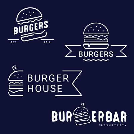 Burger, fast food logo or icon, emblem. Outline design. Set of Burger shop logotypes. Label for menu design restaurant or cafe. Capital letters, vector illustration Ilustração