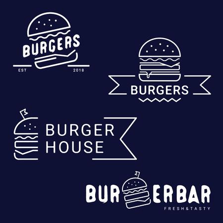 Burger, logo ou icône de restauration rapide, emblème. Conception de contour. Ensemble de logotypes de magasin Burger. Étiquette pour restaurant ou café de conception de menu. Lettres majuscules, illustration vectorielle