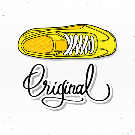 Casual sneaker shoes illustration with calligraphy letters original. For poster or web design. Isolated on white background.