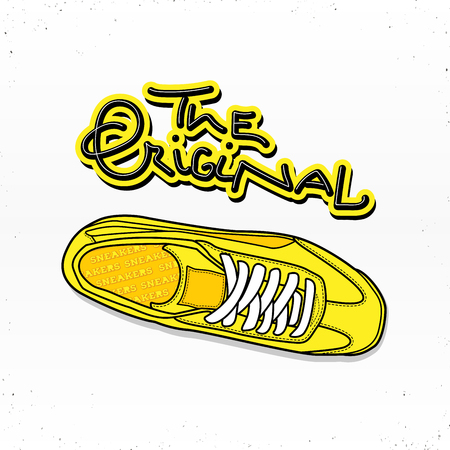 Casual sneaker shoes illustration with lettering the original. For poster or web design. Isolated on white background.