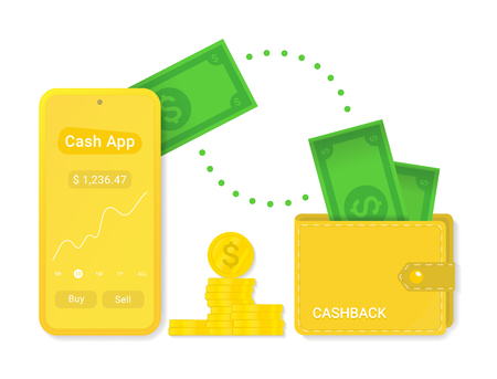 Cash app with cashback isolated vector sign symbol. Abstract icon with cash for web design. Cash in modern style. Money - cash icon. Çizim