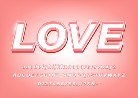 3D Pink Alphabet Love Bold Font. Vector Illustration