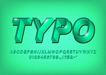 Green 3d Alphabet typeface text effect title