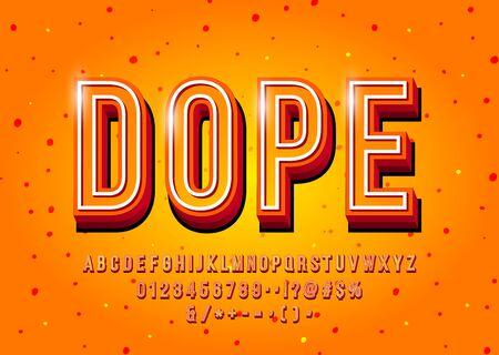 Modern 3d display font design, alphabet, letters and numbers. Ilustração