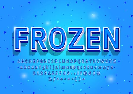 Frozen Alphabet letters, numbers and symbols. 3D vintage winter font in cold color. Serif typeface. Vector Ilustrace
