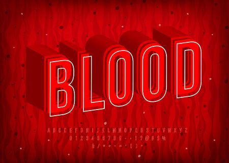 Blood Alphabet, thermal hot letters, trendy red font. Numbers and symbols Stock Illustratie