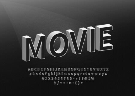 Retro Movie Styled Alphabet. Old Black Title Font on Textured Background Vector