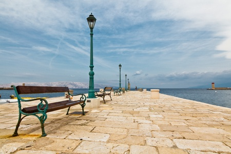 Pier in Mediterranean Town Senj in Croatia photo