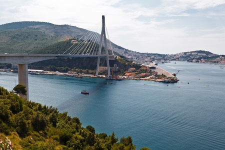 Modern Bridge and Panoramic View of Dubrovnik in Croatia photo