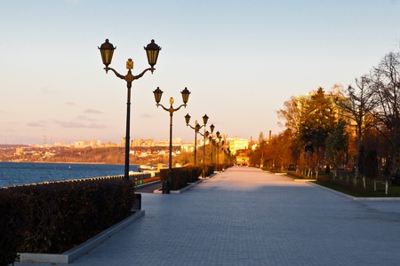 lampposts: Row of Lampposts on Volga River Embankment in Samara, Russia