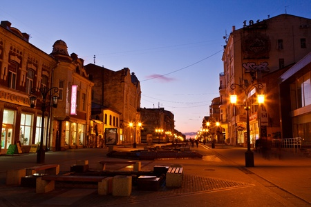 lamp posts: Street in the Center of Samara at Night, Russia