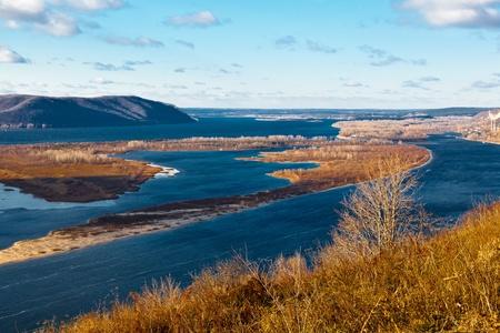 the volga river: Panoramic View of Volga River Bend near Samara, Russia
