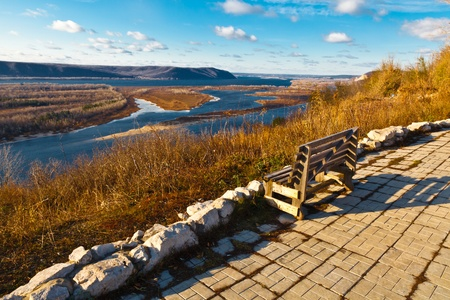 riverside tree: Wooden Bench and Panoramic View of Volga River Bend near Samara, Russia