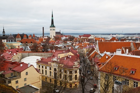 Panoramic View on Old Town of Tallinn from Above, Estonia photo