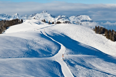 Skiing and Snowboarding in French Alps Stock Photo - 12461519