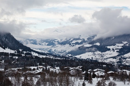 capped: View from Above on Mountain Village of Megeve, French Alps