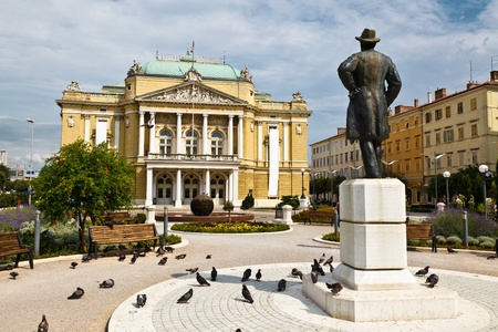 Kasalisni Park and Theater Building in Rijeka, Croatia Stok Fotoğraf