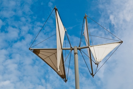 meteorological: White Weather Vane in Genoa Dock, Italy