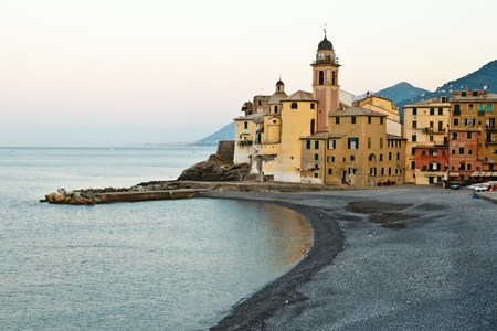 Morning at the Pebble Beach in the Village of Camogli, Italy photo