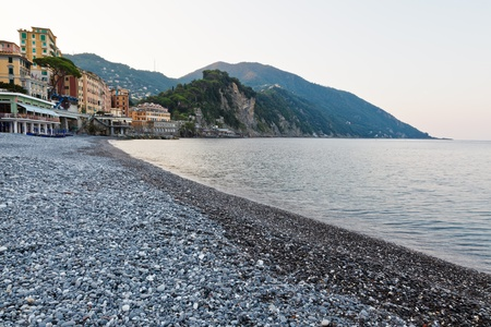 Morning at the Pebble Beach in Camogli, Italy photo