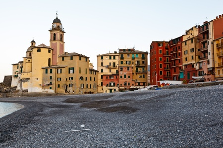 Church in the Village of Camogli at the Morning, Italy photo