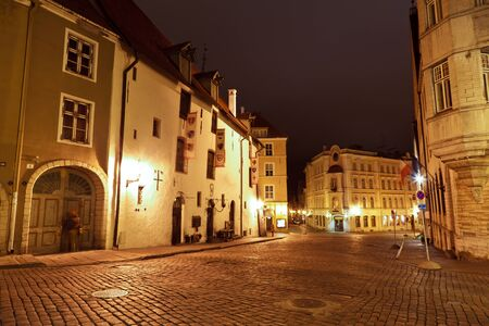Night Street in the Old Town of Tallinn, Estonia photo