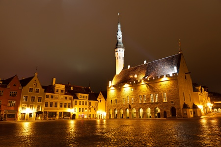 public house: Tallinn Town Hall at Night in Raekoja Square, Estonia