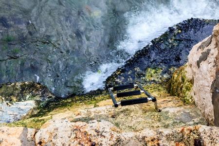 stone steps: Water Stairs on the Rocky Beach in Rovinj, Croatia