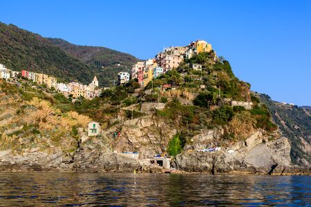 Sunset in the Village of Corniglia in Cinque Terre, Italy photo