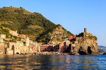 italian village: Sunset in the Village of Vernazza in Cinque Terre, Italy