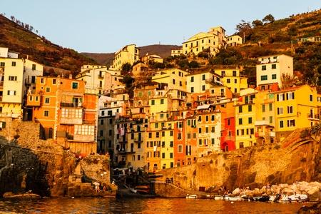 italian village: Sunset in the Village of Riomaggiore in Cinque Terre, Italy