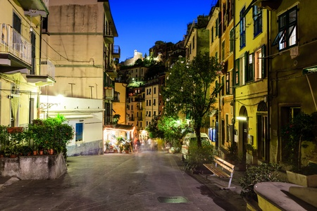 Illuminated Street of Riomaggiore in Cinque Terre at Night, Italy Stok Fotoğraf