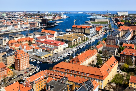 Aerial View on Roofs and Canals of Copenhagen, Denmark Stock Photo - 13549762