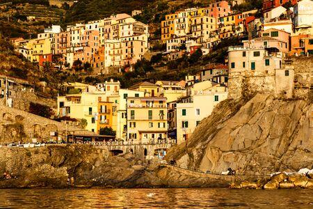 Sunset in the Village of Manarola in Cinque Terre, Italy photo