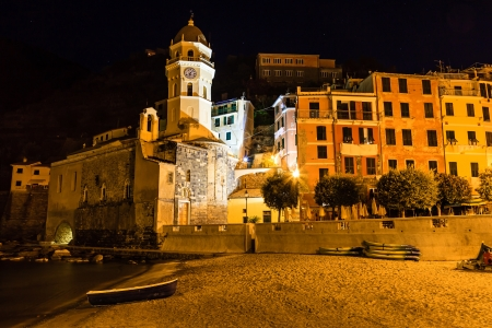 vernazza: Vernazza Church on the Sea Beach at Night in Cinque Terre, Italy
