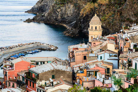The Medieval Church in the Village of Vernazza, Cinque Terre, Italy photo