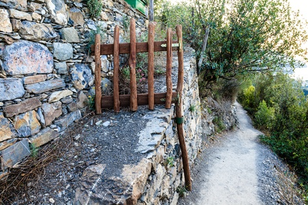 Wooden Gate on the Path from Vernazza to Corniglia in Cinque Terre, Italy photo