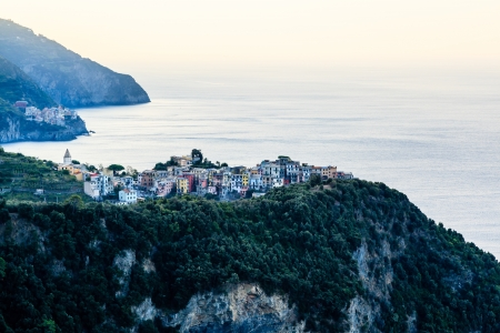 Villages Corniglia and Manarola at the Morning in Cinque Terre, Italy photo