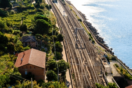 Railway Station in the Village of Corniglia, Cinque Terre, Italy photo