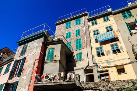 Old Houses in the Village of Riomaggiore, Cinque Terre, Italy photo