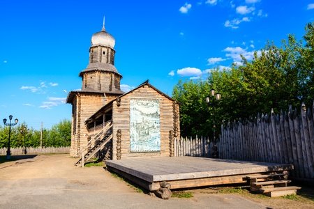 Wooden Church on the Hill in the City of Tomsk, Russia photo