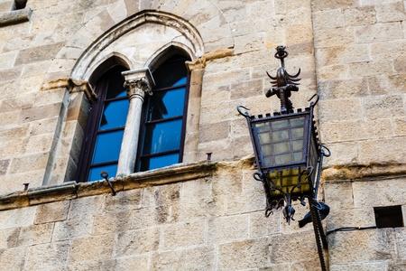 volterra: Ancient Streetlight in Priori Square at Volterra  in Tuscany, Italy