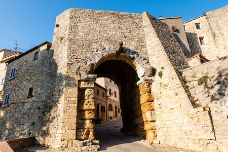 Ancient Etruscan Gate of Volterra in Italy photo